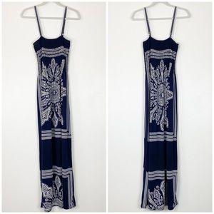 Neelam Navy & White Maxi Dress Free Size